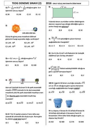 8.Sınıflar 2.Dönem Teog Matematik Denemesi