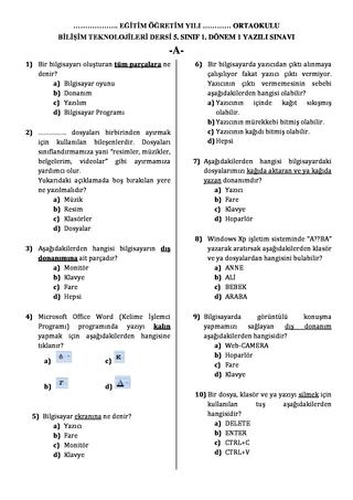 Bilişim tek 5 sınıf 1 dönem 1 sınav