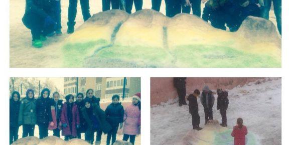 5. Sınıf öğrencileri kardan yüzey şekilleri yaptı