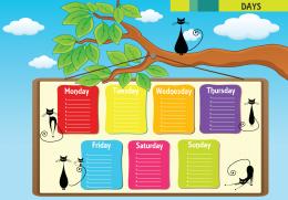 Bu infografikte haftanın günleri ele alınmıştır.