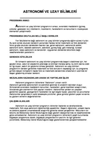 ASTRONOMİ (MESLEK TANITIMI)