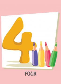 İngilizce sayılar resimlerle gösterilir.(4-Four-Dört)