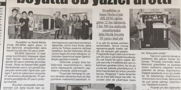 Sivas BİLSEM öğrencileri büyük boyutta 3D yazıcı üretti