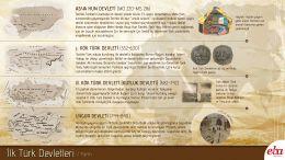 Orta Asya'da İslamiyet öncesi kurulan İlk Türk Devletleri olan Hun, Kök Türk, Kutluk ve Uygur devletleri hakkında infografik çalışma.