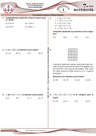 2017-2018 7.sınıf Matematik Kazanım Testleri