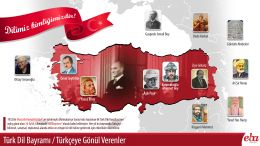 """1932'de toplanan ilk Türk Dili Kurultayı'nın açılış günü olan 26 Eylül, ülkemizde """"Dil Bayramı"""" olarak kabul edilmiştir. Bu infografikte, bu günü bayram olarak kutlamamızda emeği olan, Türkçenin yaşaması için çalışmalar yapan Türk büyüklerinden örnekler verilmiştir."""