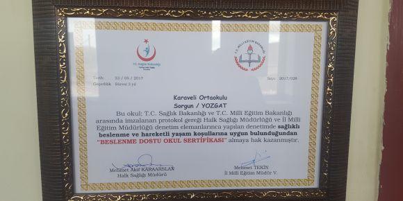 Beslenme Dostu Okul projesi sertifikamızı aldık