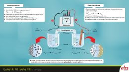 Bu infografikte galvanik pilin nasıl çalıştığı, anot ve katot yarı hücrelerinde gerçekleşen olaylar anlatılmaktadır.