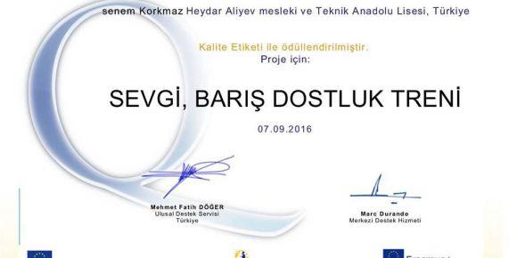 Haydar Aliyev MTAL 'e etwinning projesinden ulusal kalite etiketi