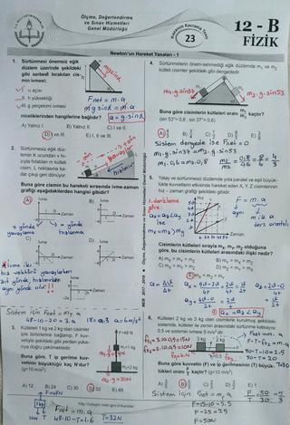 E-kurs 2017-18  12+/Mezun Fizik B Test 23 Çözümleri ( Newton'un Hareket Yasaları )