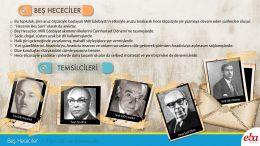 Beş Hececiler hakkında bilgi içeren infografik çalışma.