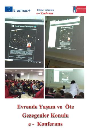 Evrende Yaşam ve Öte Gezegenler konulu e konferans sunumu Çanakkale VTAL den
