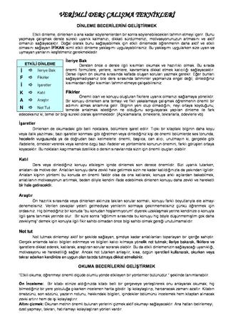 Verimli ve Etkili Ders Çalışma Teknikleri