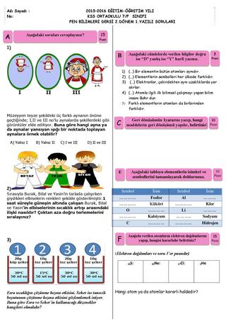 7. Sınıf Fen Bilimleri Dersi 2. Dönem 1. Yazılı