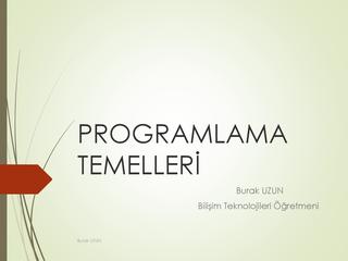 Programlama Temelleri