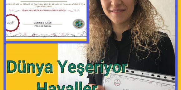 Dünya Yeşeriyor Hayaller Gerçekleşiyor projesinde katılım sertifikaları verildi