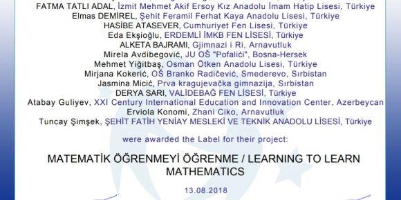 Matematik öğrenmeyi öğrenme / learning to learn mathematics projesi faaliyetlerine başladı