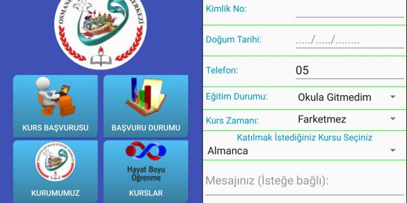 Bursa Osmangazi Halk Eğitimi Merkezi Kurs başvuru Android Uygulaması