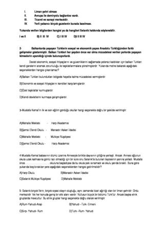8.sınıf T.C. İnkilap Tarihi ve Atatürkçülük dersi 1.dönem testler
