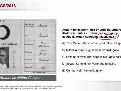 2016-Ygs-Tarih-Atatürk'ün Nüfus Cüzdanı izle